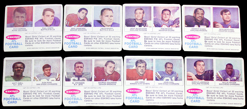Eskimo Pie football cards 1969