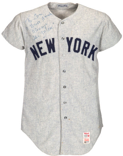Mickey Mantle signed jersey 1968 homer Denny McLain