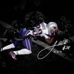 Autographed James White Super Bowl photo silhouette Patriots