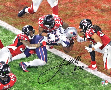 Autographed James White Super Bowl touchdown photo