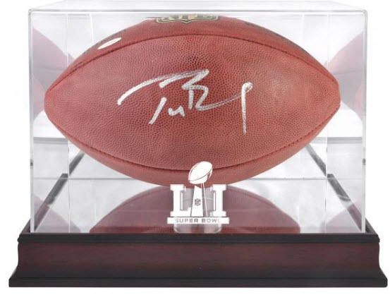 Autographed Tom Brady football Super Bowl LI case