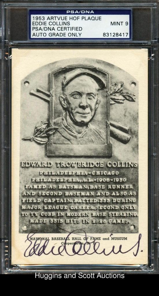 Signed Eddie Collins HOF postcard