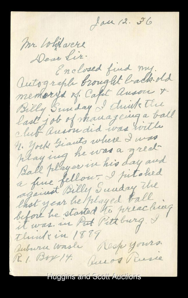 Signed Amos Rusie letter autograph