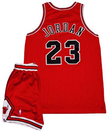 Game used Michael Jordan road uniform