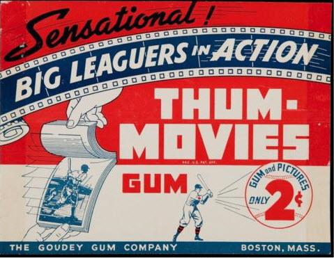 Advertising card 1930s Goudey Baseball Movies Gum