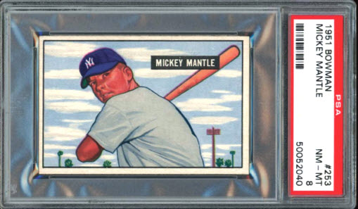 Mickey Mantle rookie card 1951 Memory Lane auction