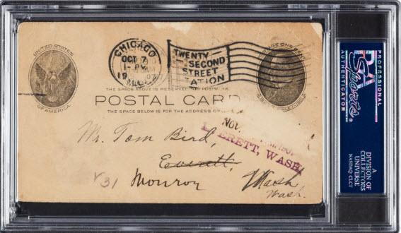Ty Cobb written postcard