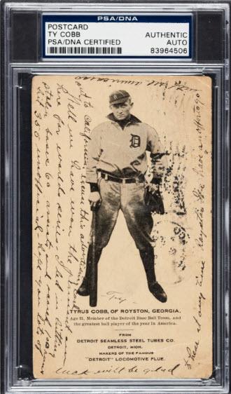 Ty Cobb written Detroit Seamless Steel postcard
