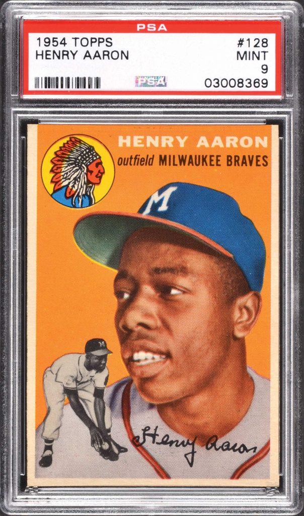 Henry Aaron rookie card 1954 Topps PSA 9 mint