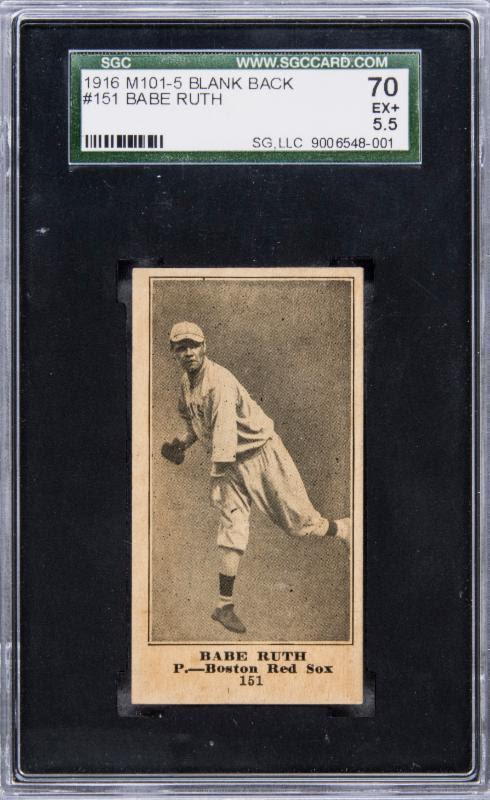 1916 blank back Babe Ruth rookie card