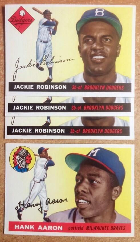 Jackie Robinson Hank Aaron 1955 Topps cards