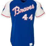 Hank Aaron 1973 game used Braves road jersey