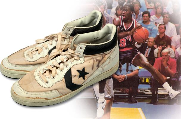 1984 Olympic basketball final game worn shoes Michael Jordan Converse