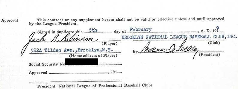 1949 Jackie Robinson signed Dodgers contract