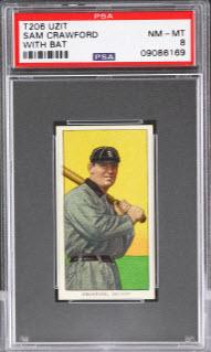 Sam Crawford T206 baseball card Uzit back PSA 8