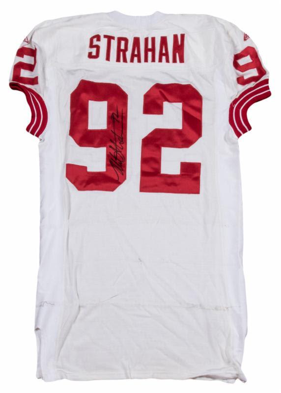 Game worn Michael Strahan jersey