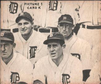 puzzle back 1935 Goudey baseball Tigers