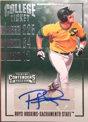 Rhys Hoskins College Contenders auto