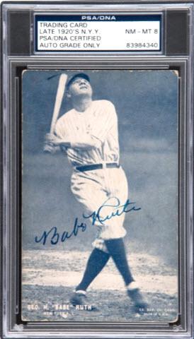 Babe Ruth 1928 Exhibits signed