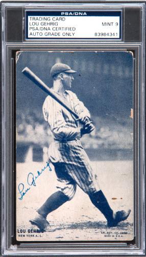 Lou Gehrig 1928 Exhibit autograph