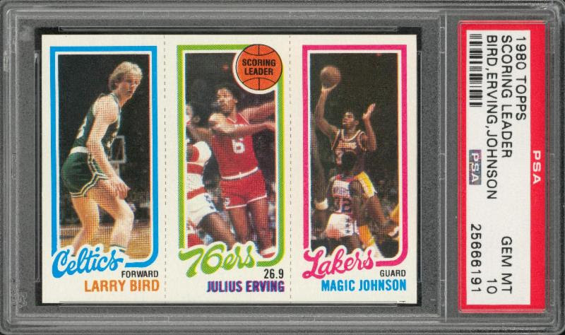1980-81 Topps Larry Bird Magic Johnson rookie card PSA 10