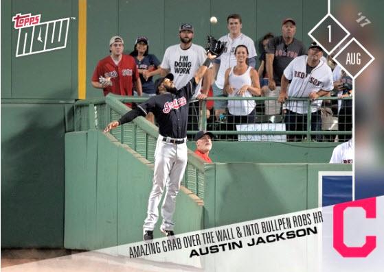 Austin Jackson catch baseball card