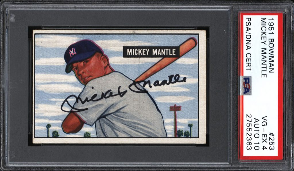 Autographed Mickey Mantle rookie card