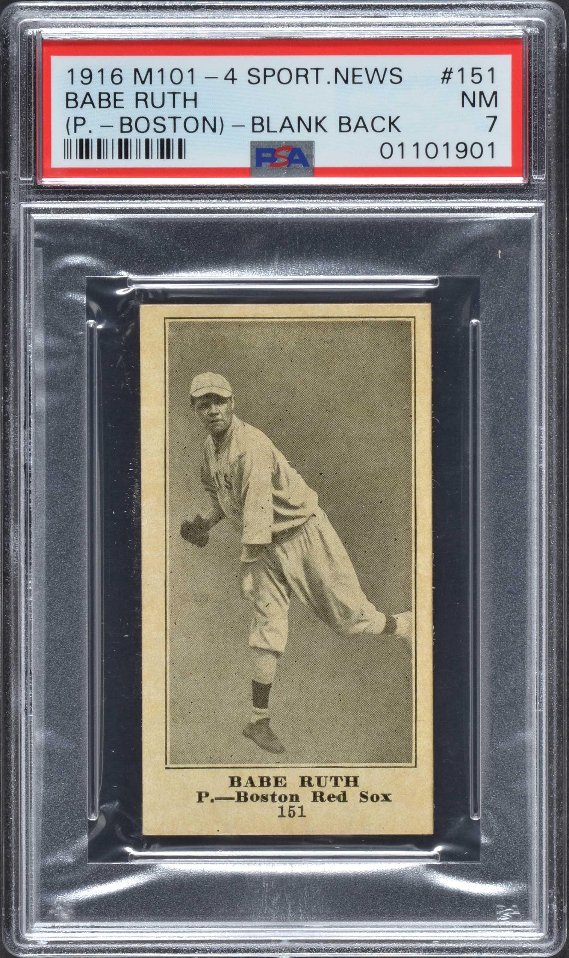 1916 Babe Ruth rookie card PSA 7 near mint