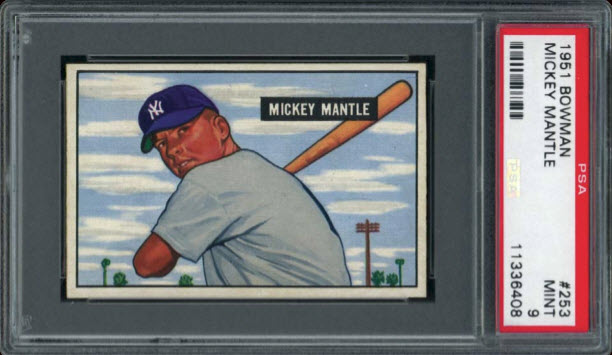 Mickey Mantle rookie card mint condition PSA 9