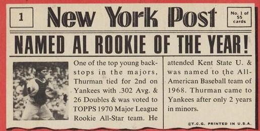 Thurman Munson back 1971 Topps Greatest Moments