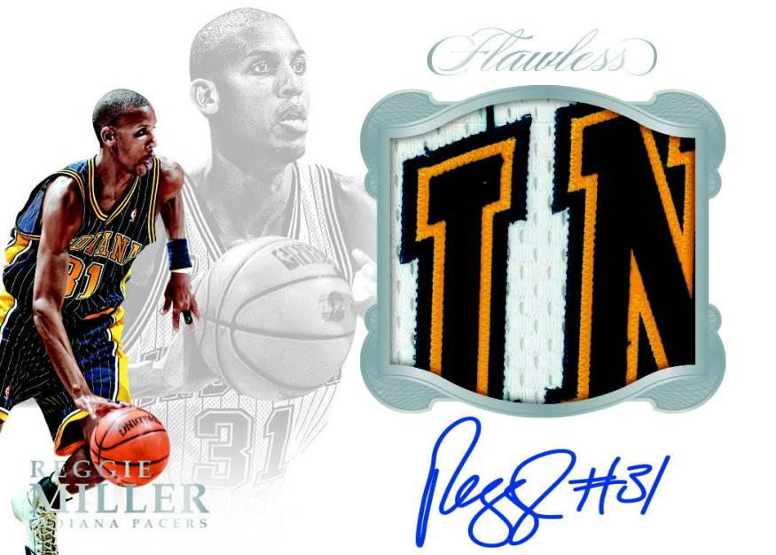 Reggie Miller autographed card 2016 Panini Flawless Star Swatch Signatures