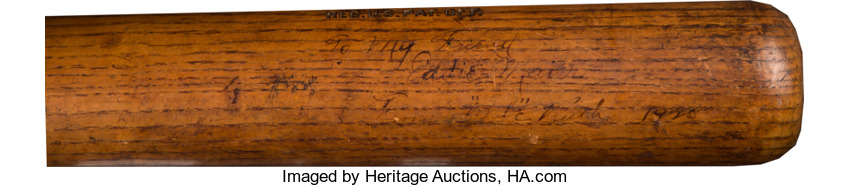 Inscribed Babe Ruth signed bat Eddie Maier