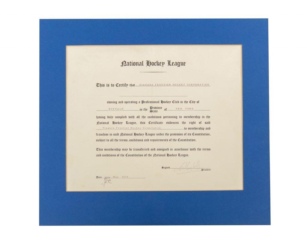Buffalo Sabres expansion franchise NHL certificate 1970