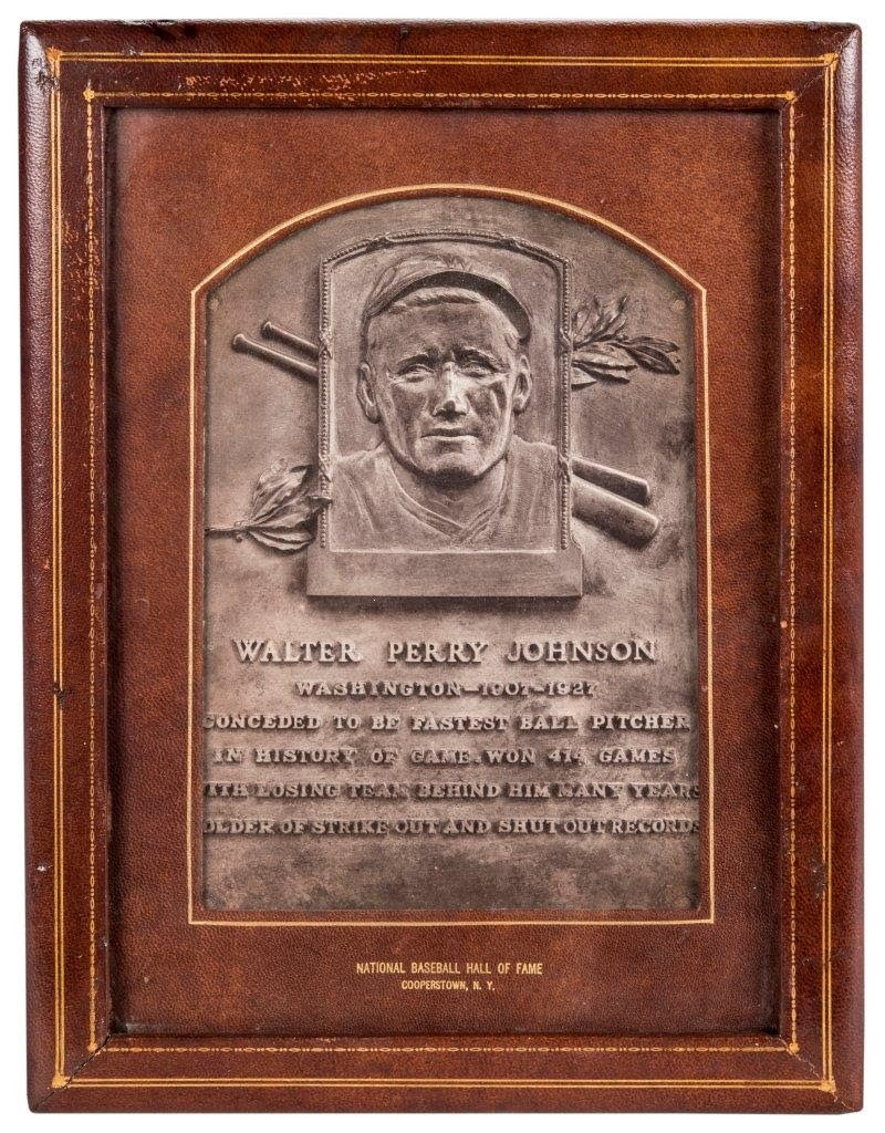 Hall of Fame plaque 1939 Walter Johnson