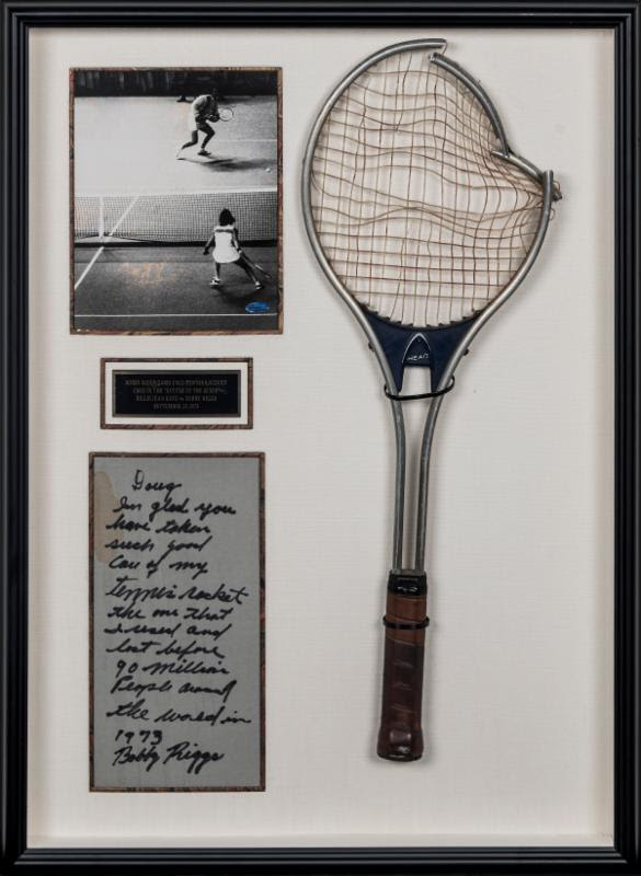 1973 Bobby Riggs tennis racquet vs Billie Jean King