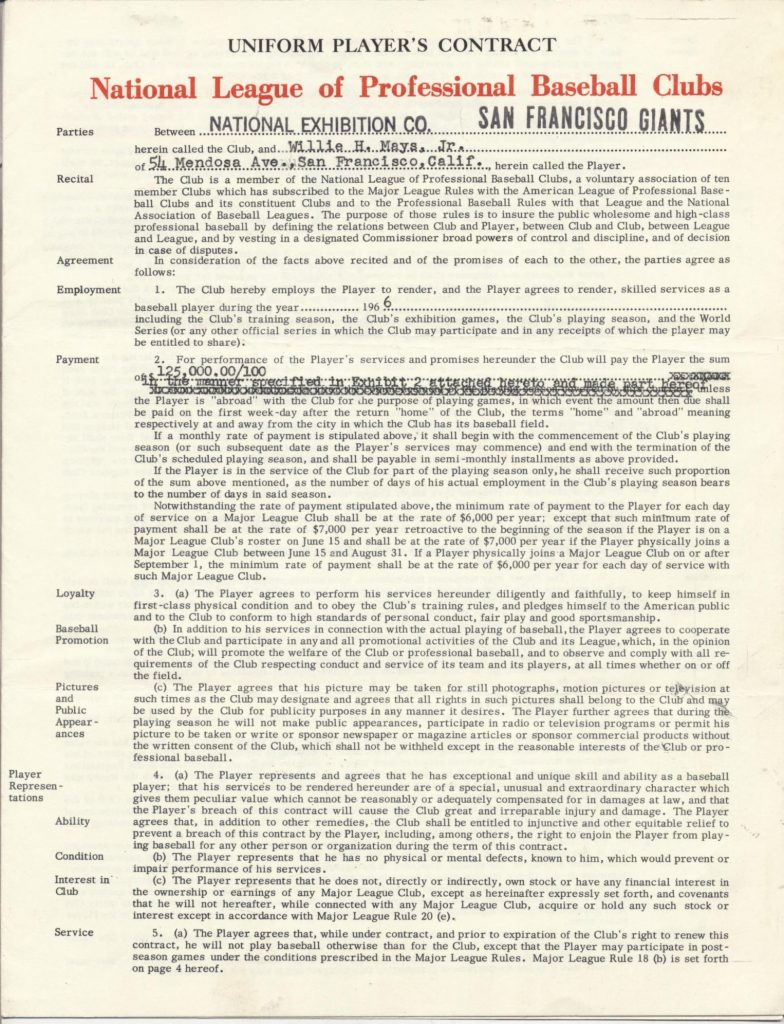Willie Mays 1966 contract