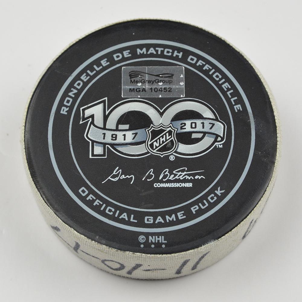 2017-18 NHL game puck 100th anniversary logo
