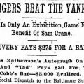 newspaper article 1909 Sam Crane benefit game