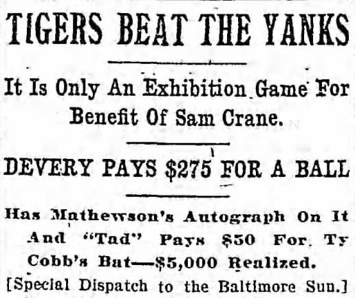 newspaper article 1909 Sam Crane benefit game