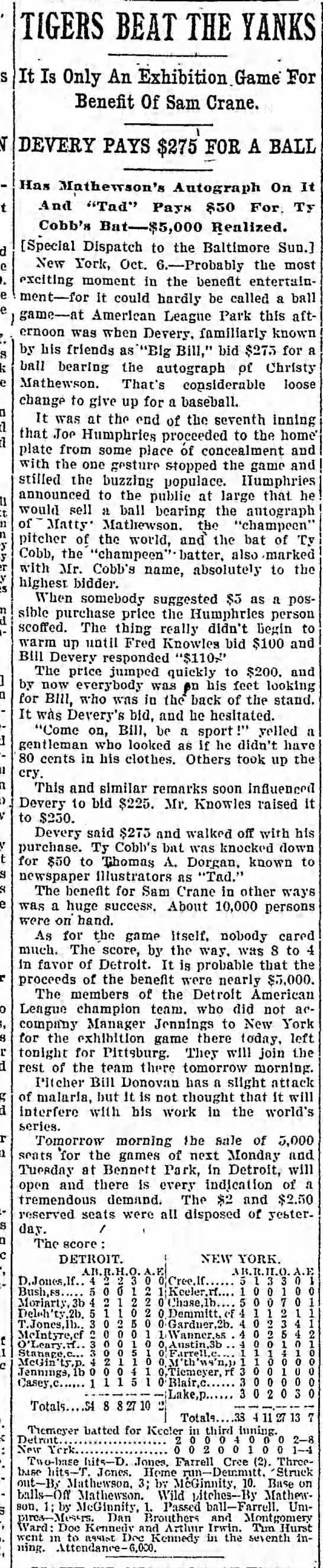 Newspaper clipping 1909 Giants Tigers charity game