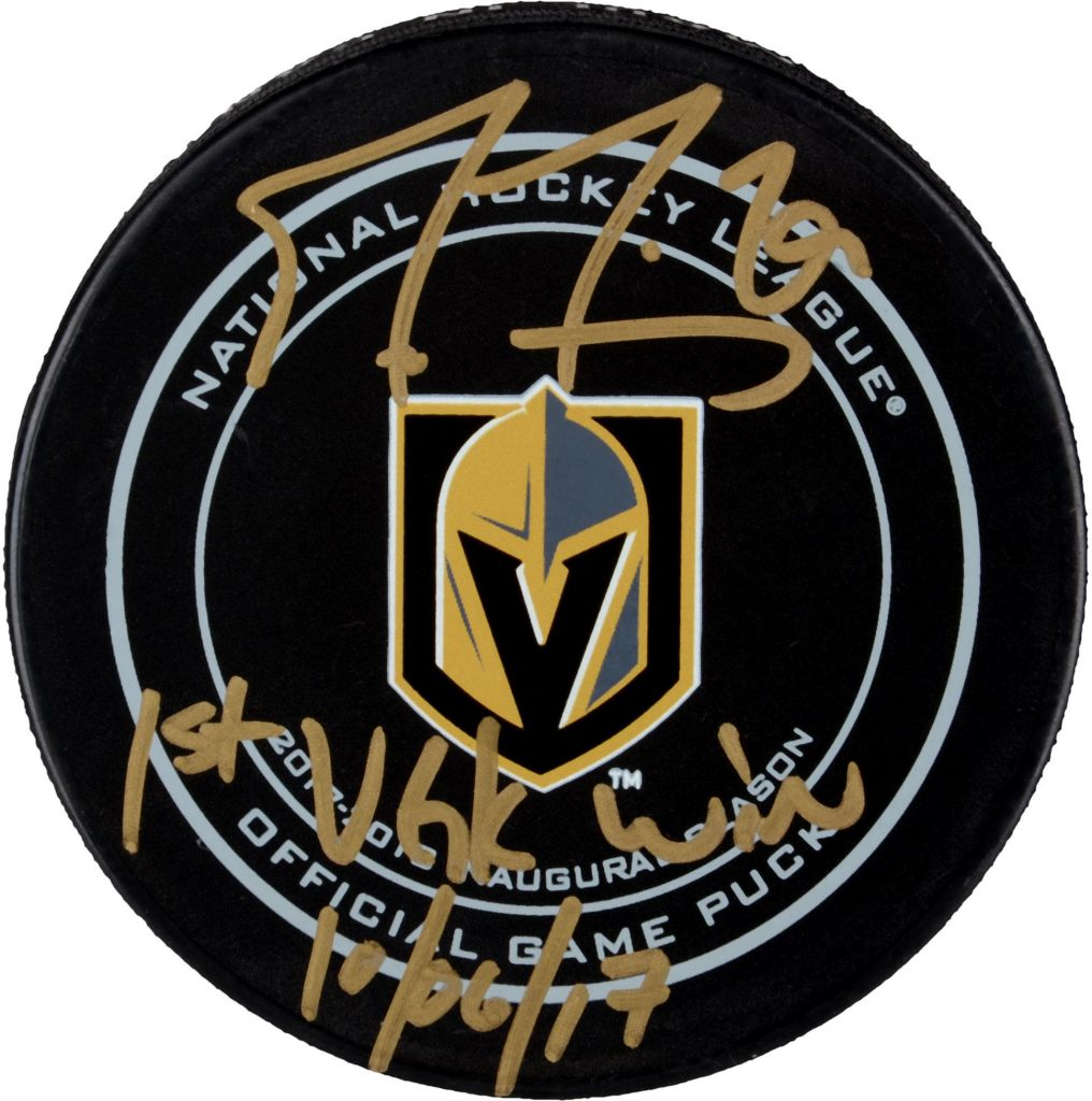 Autographed Marc Andre Fleury puck first Golden Knights win