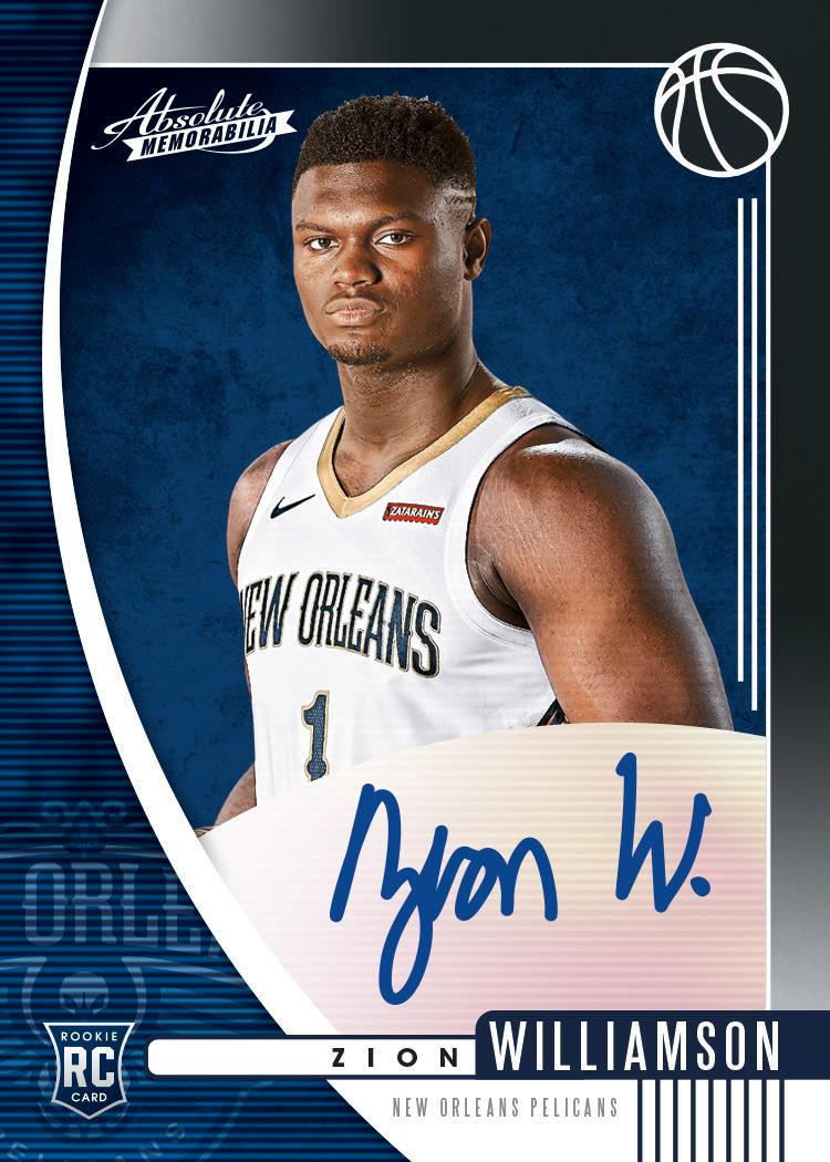 2019-20 Panini Absolute Zion Williamson autographed rookie card