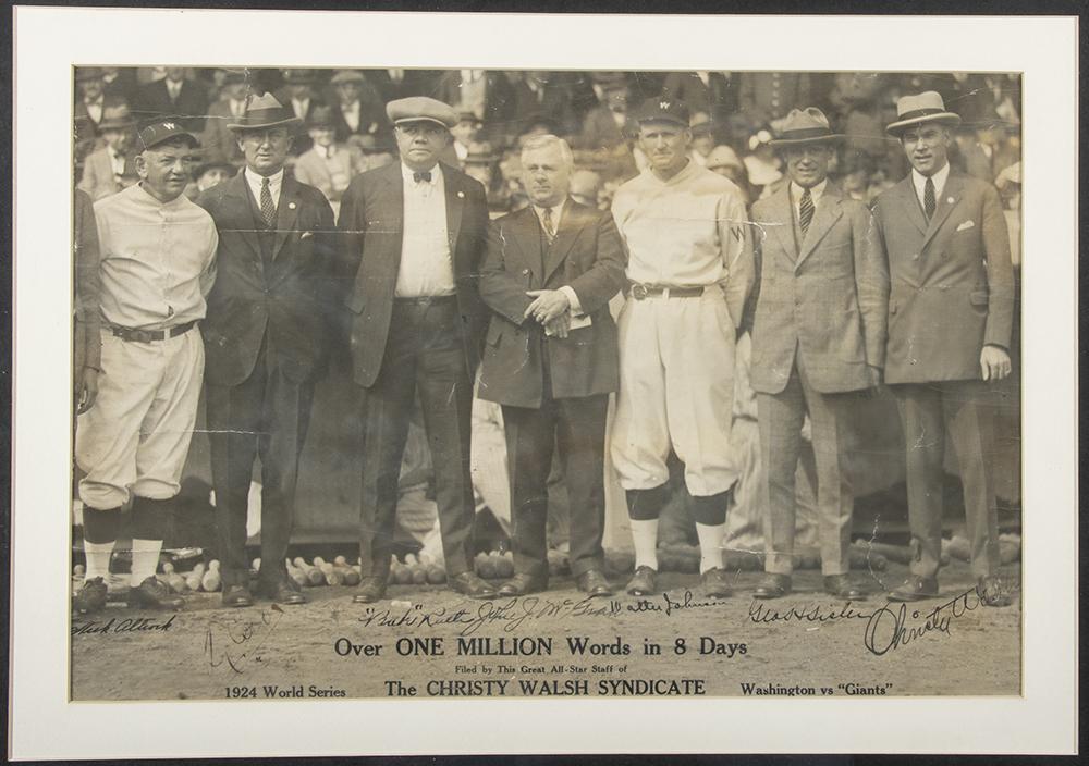 1924 World Series photo Babe Ruth Walter Johnson