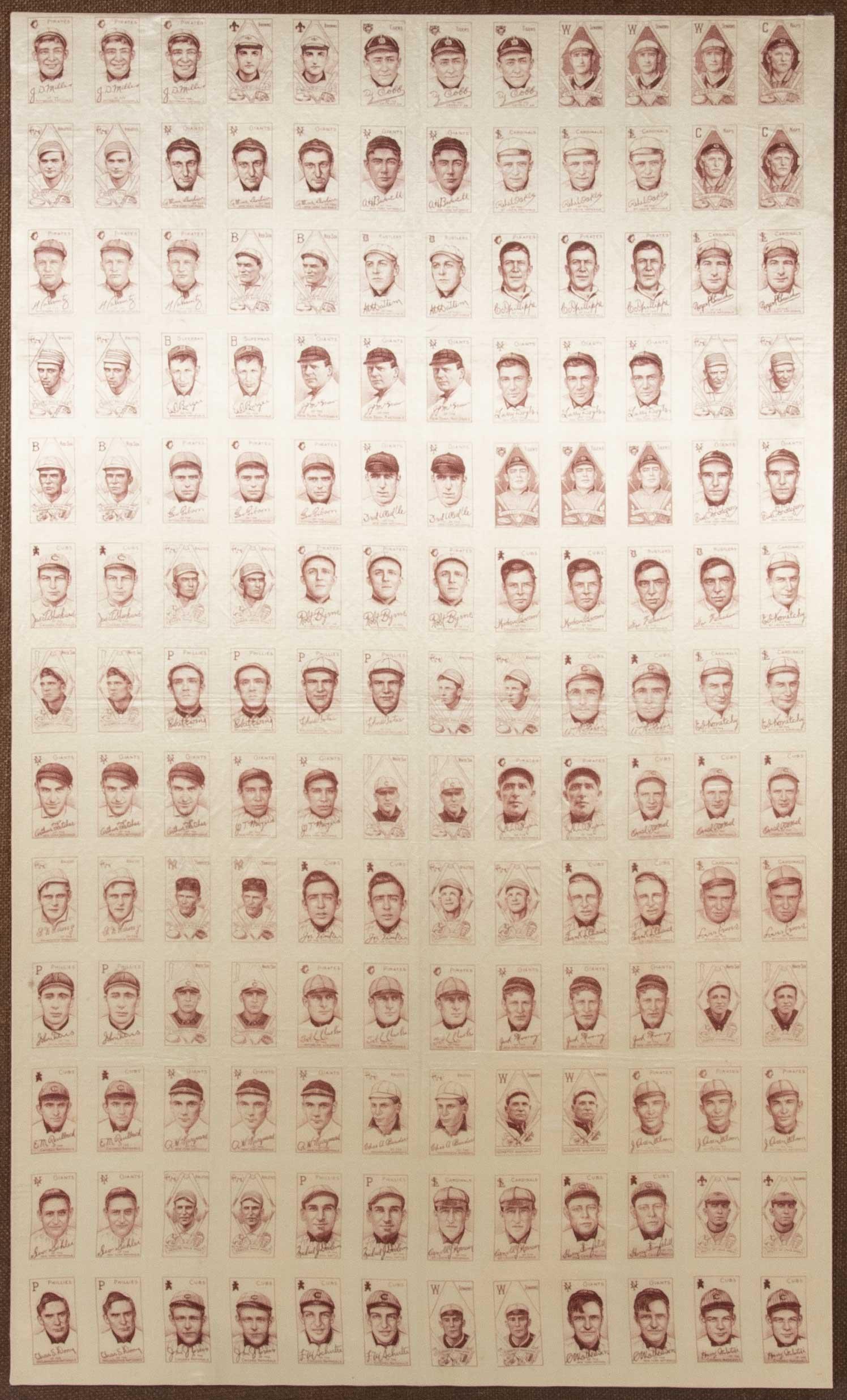 1909-11 S74 Tobacco Silks uncut sheet